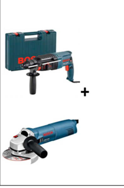 PERFORATEUR BOSCH GBH 2-2 + MEULEUSE ANGULAIRE DIAM 125MM 1400W GWS